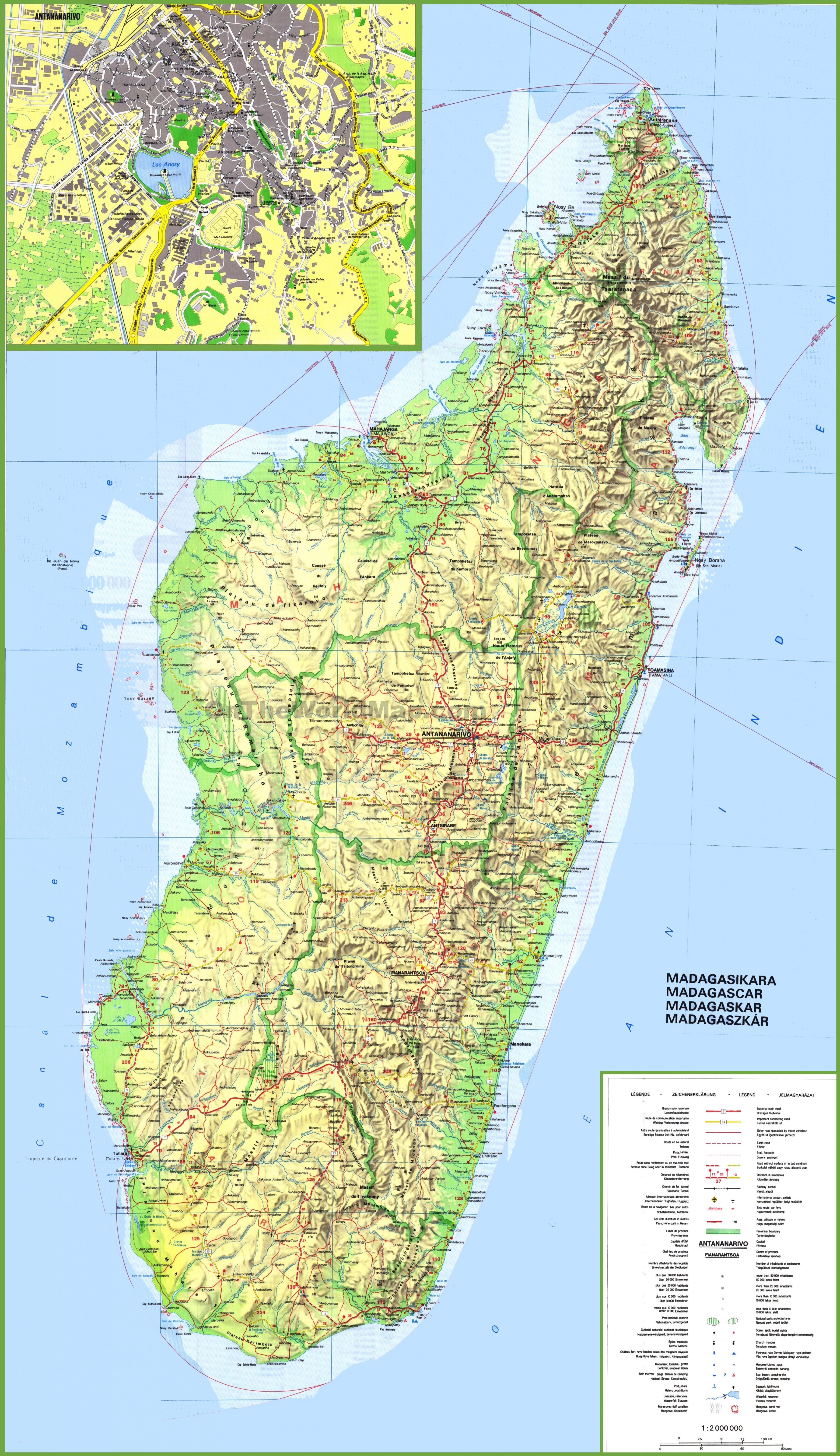 Madagaskar Karte.Madagaskar Karte Landkarte Madagaskar Ost Afrika Afrika